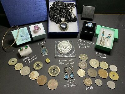 Junk Drawer Estate Lot Vintage  925 Sterling Jewelry Silver Coins Dragon Dollar