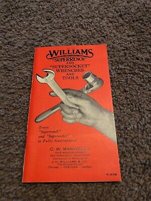 1945 WWII Era WILLIAMS SUPERRENCH & SUPERSOCKET  Price Guide Catalog Pristine