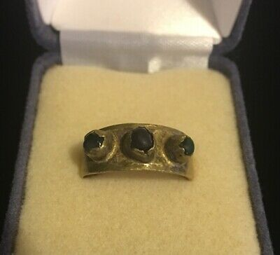 Antique Vintage Brass Ring Ancient Roman? Has Three Stones Green Red Blue Look