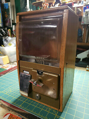 Vintage Victor Baby Grand Coin Op Vending Machine Gumball 25 Cents Works No Keys