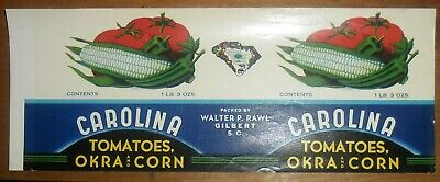 Wholesale Lot of 100 Old Vintage Carolina Tomatoes /& Okra Can LABELS  Gilbert SC