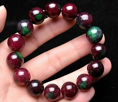 14mm Top Natural Ruby Zoisite Epidote More Red Gemstone Round Bead Bracelet AAA