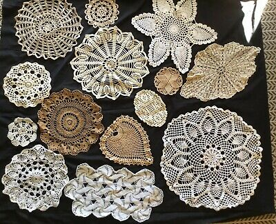 Bulk Vintage Doilies Doily Ecru Cream White Crochet Lace 14 In Total, Pineapple