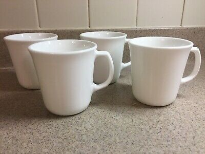 4 Corning Corelle Winter Frost White D-Style Handle Coffee Cups Mugs 8 oz.