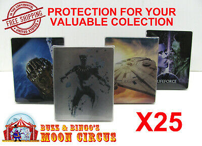 25x 4K UHD STEELBOOK - NO J-CARD SIZE - CLEAR PROTECTIVE BOX PROTECTOR SLEEVE