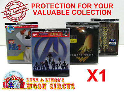 1x 4K UHD STEELBOOK - WITH J-CARD SIZE - CLEAR PROTECTIVE BOX PROTECTOR SLEEVE