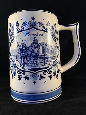 VINTAGE Collectable HEINEKEN BEER STEIN Delftsche Huys DELFT BLUE HOLLAND
