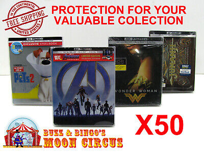 50x 4K UHD STEELBOOK - WITH J-CARD SIZE - CLEAR PROTECTIVE BOX PROTECTOR SLEEVE