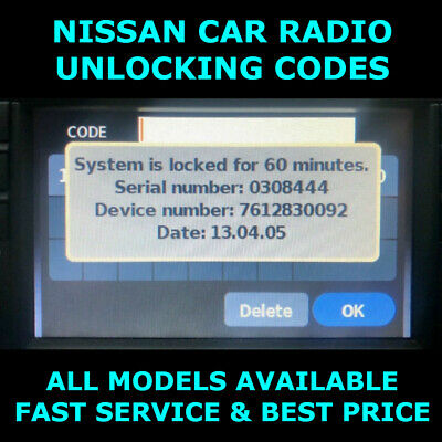 Nissan Radio Code Car Codes Micra Note Qashqai Almera Juke Connect Unlock FAST