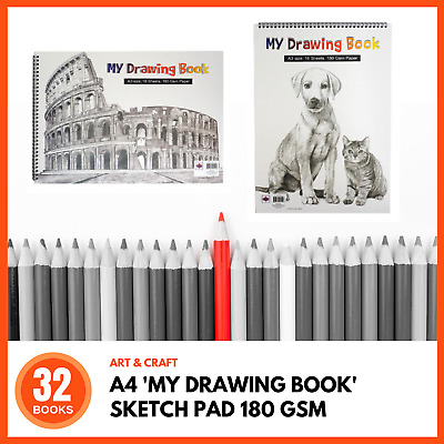32 x A4 SKETCHBOOK 180 GSM Paper 2 Cover Designs Drawing Sketch Pad Painting Art
