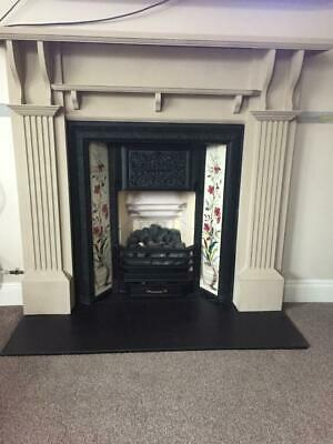 Tiled Cast Iron Fireplace with Black Slate Hearth