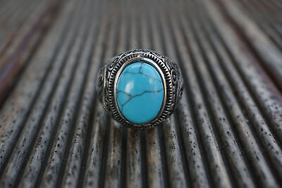 Classic Natural Oval Blue Turquoise Silver Ring for Harley Davidson Motor Biker