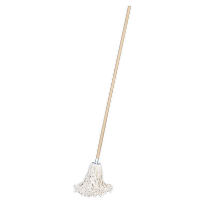 BM02 Sealey Tools Pure Yarn Cotton Mop 225g with Handle [Janitorial] Mops