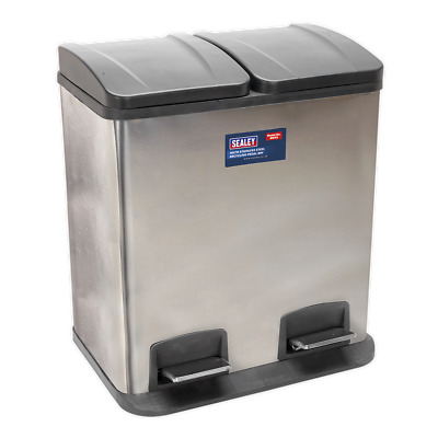 BM73 Sealey Pedal Bin Recycling 40ltr Stainless Steel [Janitorial] Bins, Waste