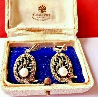 RARE Imper. RUSSIAN 84 SILVER Earrings with Pearl, Faberge design c. 1915-1917th