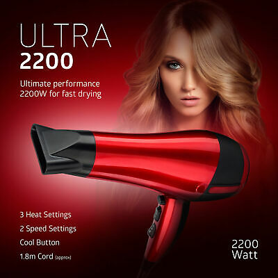 Red Hot Hair Dryer 2200W Professional Style Concentrator Nozzle Blower Pro Salon