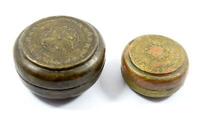 Set Of Two Vintage Bread Box Indian Small Brass Old Trinket box decor. G66-41 AU