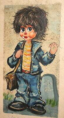 Vintage Abstract Oil Painting Child  Portrait