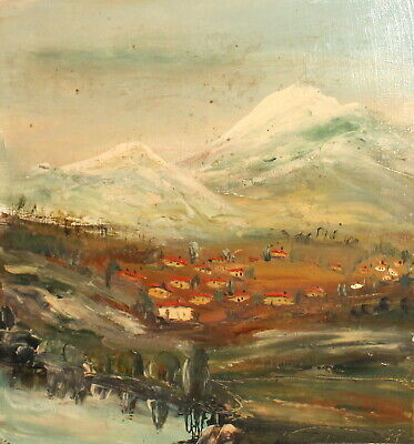 Vintage Impressionist Oil Painting Mountain Village Landscape Signed