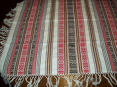 "NEW~TABLE TOPPER~37""x39""~Fringed~100%Rayon~blacks~reds~off-white~gold~India"