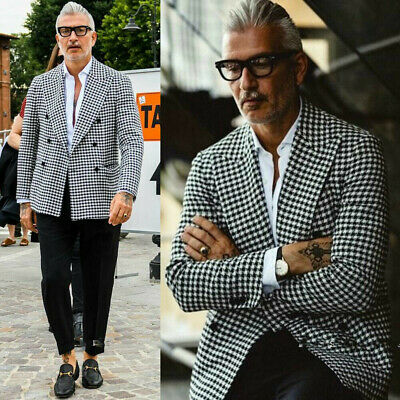 Men's Houndstooth Suit Blazer Formal Checkered Tuxedos Formal Prom For Wedding