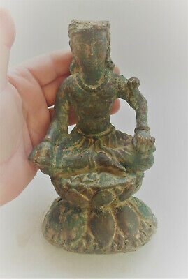 Museum Quality Ancient Gandharan Bronze Seated Buddha Figurine 200-300Ad