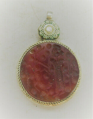 Beautiful Ancient Near Eastern Silver Pendant With Carnelian Stone Insert