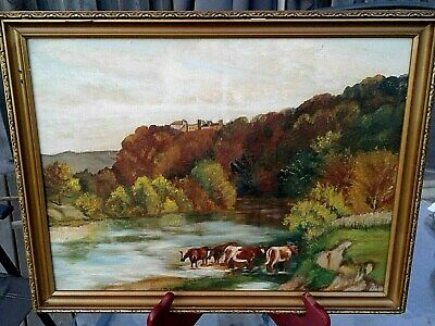 Antique Framed Painting Farm House COWS IN PASTURE GRAZING vintage