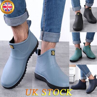 UK Mens Rubber Rain Ankle Shoes Short Wellington Wellies Garden Waterproof Boots