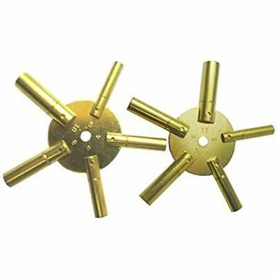 10-Size Solid Brass Clock Winding Keys 5 Odd &amp Even Sizes 2 To 11 (5025) Home
