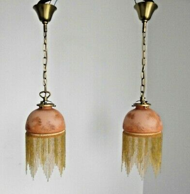 Pair French Vintage Amber Glass Ceiling Lights With Glass Beaded Fringe 1523