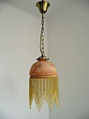 Single French Vintage Amber Glass Ceiling Light With Glass Beaded Fringe 1524