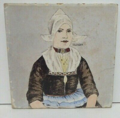 Antique Ste Ceramique Wick-Maestricht Dutch Pottery Tile Hand Painted Lady
