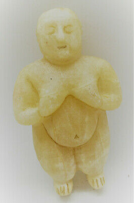 Scarce Ancient South Arabian Calcite Crystal Carved Idol Circa 1000Bce