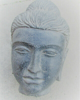 Huge Ancient Gandharan Stone Buddha Head Statue Fragment Approx 30Cm Heavy