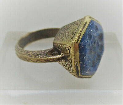Superb Late Medieval Islamic Gold Gilded Ottoman Seal Ring With Agate Intaglio
