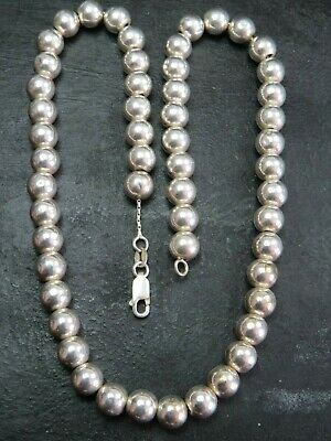 VINTAGE STERLING SILVER BALL BEAD NECKLACE CHAIN C.2000 17 inch