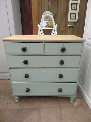 Large Victorian Chest of Drawers Antique Pine.