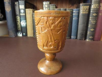 Antique Hand Carved (Not Turned) Wooden Goblet/Chalice - St George & The Dragon