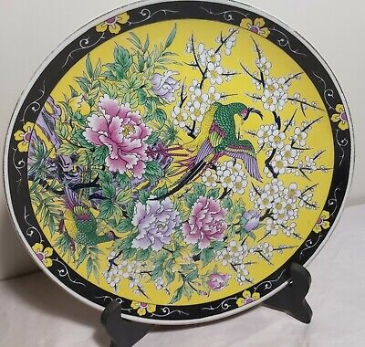 Collectable Chinese handpainted flowers+birds porcelain plate Dia26cm