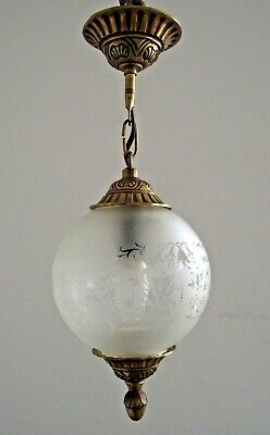 Beautiful Vintage French Cast Brass And Opaque Etched Glass Ceiling light 1527