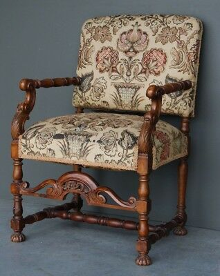 Antique French Louis XIII carved walnut armchair baroque tapestry seat chair