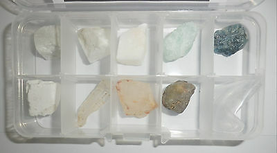 10 Mohs Scale Stone Set clear plastic box Learning Real Specimen Kit