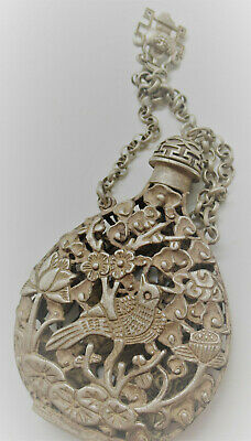Antique Near Eastern Post Medieval Silver Openwork Snuffbottle Very Nice