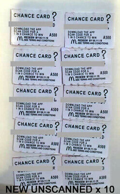 10 x CHANCE CARDS - McDonalds Monopoly 2019 - UNUSED