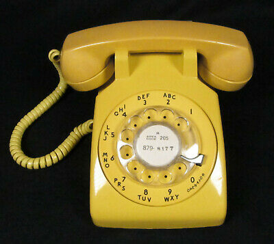 Vintage Working YELLOW Bell System Western Electric DESK ROTARY PHONE – Works!