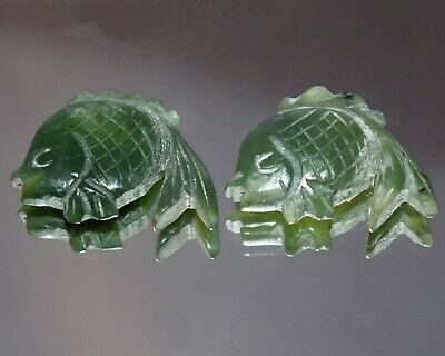Vintage Chinese Carved Spinach Nephrite Jade Goldfish Koi Yu Figurine Pendants