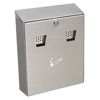 RCB02 Sealey Cigarette Bin Wall Mounting Stainless Steel