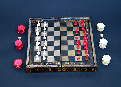 Antique Chinese Chess Set Backgammon Games Board Export Lacquer Complete