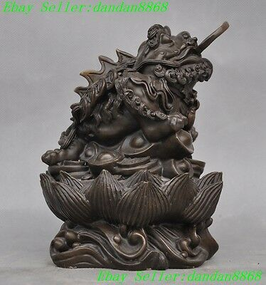 Chinese Bronze FengShui Foo dog lion head Wealth Golden Toad bufo Spittor Statue